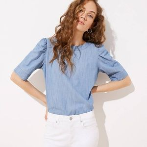 Chambray Puff Shoulder Blouse (NWT)